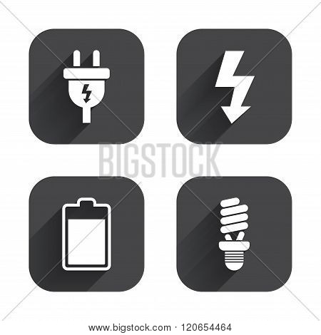 Electric plug sign. Lamp and battery.