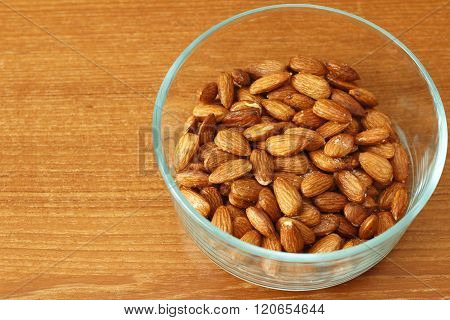 Glass Bowl Of Maple Glazed Almonds