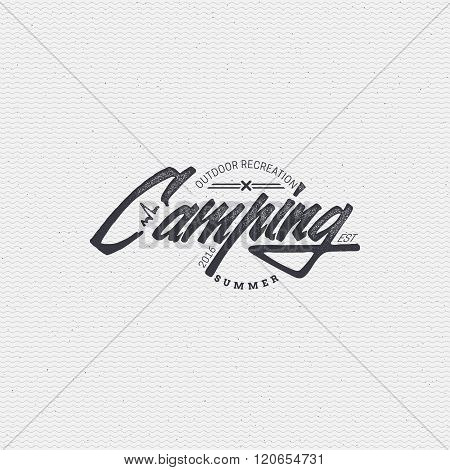 Camping sign handmade differences, made using calligraphy and lettering It can be used as insignia b