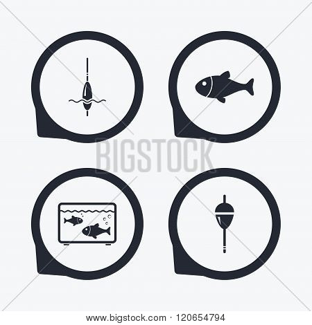 Fishing icons. Fish with fishermen hook symbol.