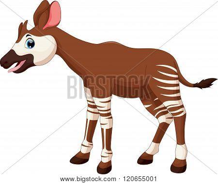 Vector illustration of okapi cartoon