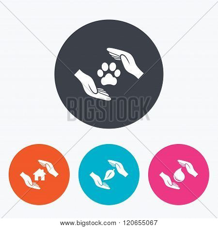 Hands insurance icons. Save water and nature.