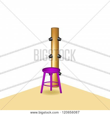 Boxing corner with purple wooden stool and white ropes