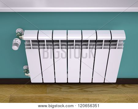 White contemporary heating radiator with thermostat
