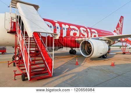 PATTAYA, THAILAND - FEBRUARY 17, 2016: Thai AirAsia A320 in U-Tapao - Pattaya International Airport. Thai AirAsia is a joint venture of Malaysian low-fare airline AirAsia and Thailand's Asia Aviation