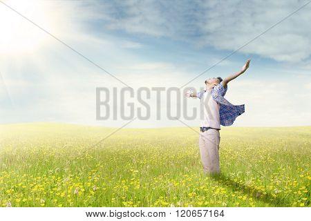 Man Enjoy Happy Time On Meadow