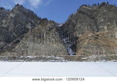 Rocky Shore Of Lake Baikal In Winter