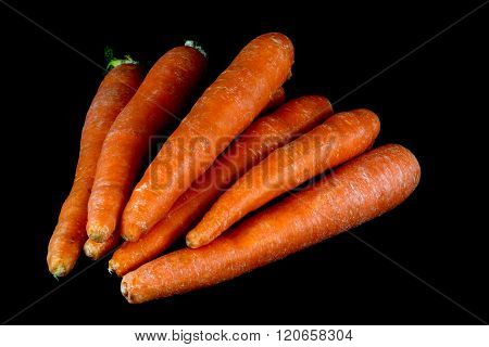 Organic Carrots On Black Background