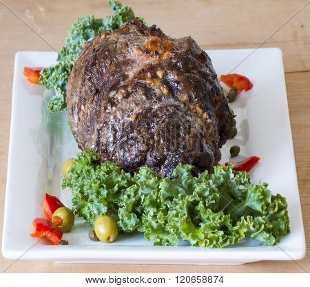 Cuban Cuisine: Large piece of stuffed and roasted meat