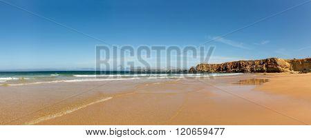Seashore with rocky hills
