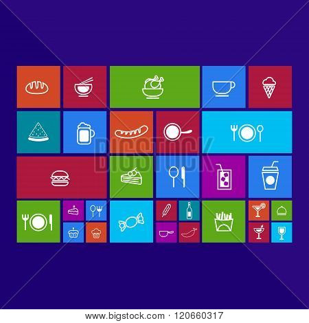 Trendy Computer Or Mobile Application App Program Of Flat Food And Restaurant Menu Icon In Colorful