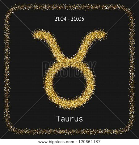 Taurus, zodiac sign gold glitter for horoscope
