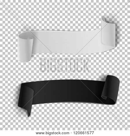 Vector Ribbon Banner Set. 3D Realistic Vector Banner Isolated on