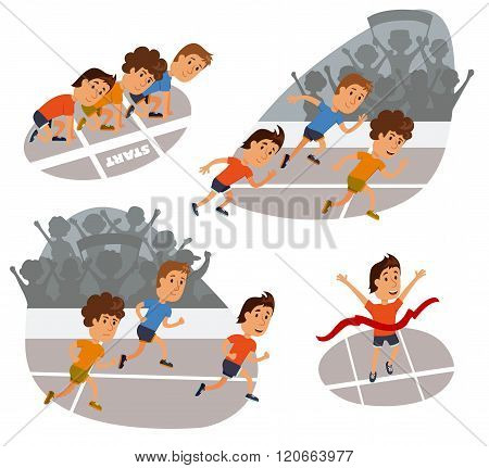 Run race. Running competition. Sports stadium iillustration. Runners cartoon character. Sprint marathon. Starting line, run race and finish set. Group run race.Fans at the stadium.