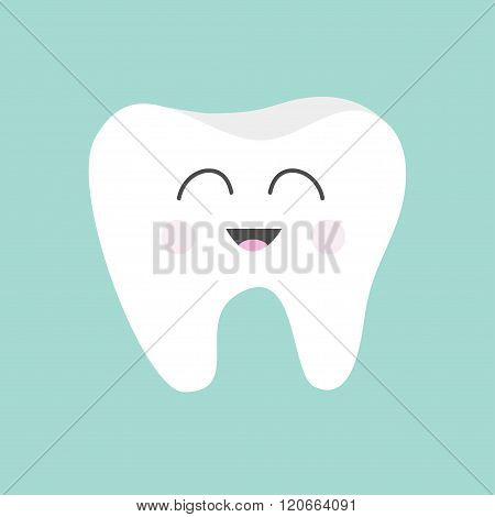Tooth Icon.  Cute Funny Cartoon Smiling Character. Children Teeth Care. Oral Dental Hygiene. Tooth H