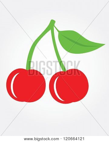 A vector illustration of cherries with stem and leaf