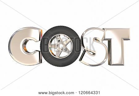 Cost of Ownership 3d Word Letters Wheel Tire Auto Vehicle Car Price