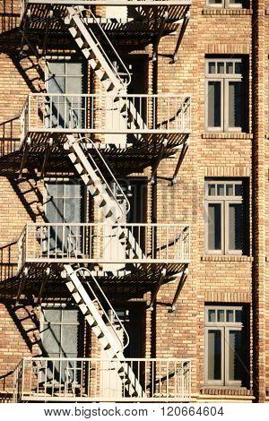 Fire escape on brick house
