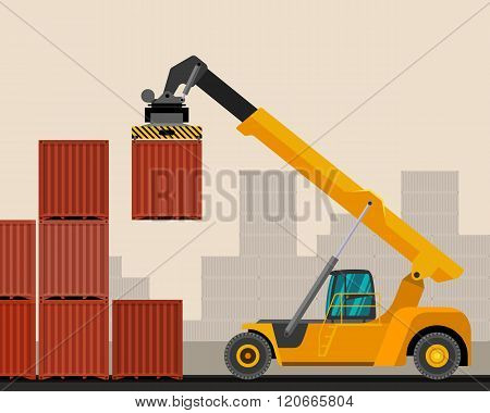 Reach Stacker With Container