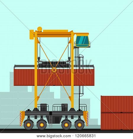 Straddle Carrier With Container