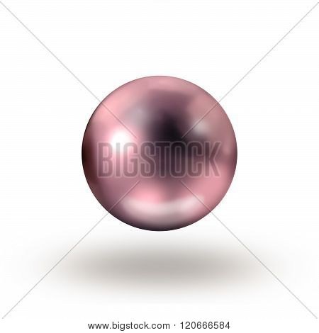 Single natural burgundy pearl with drop shadow
