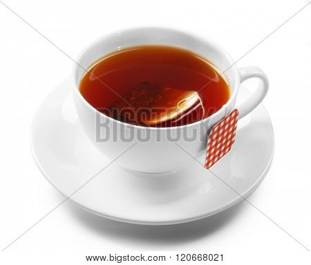 Cup of tea isolated on white background. Teabag with red checkered label