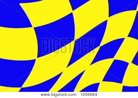 Yellow And Blue Checkered Racing Flag