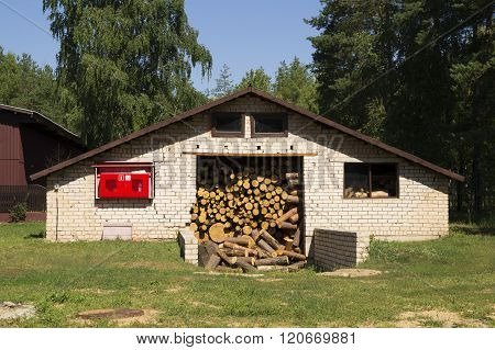 Brick storage for firewood