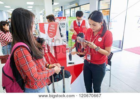 PATTAYA, THAILAND - FEBRUARY 26, 2016: inside of U-Tapao International Airport. U-Tapao Rayong-Pattaya International Airport is serving Rayong and Pattaya cities in Thailand.