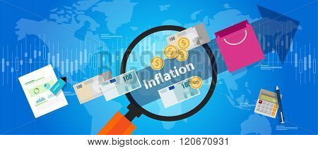 inflation goods price increase macro economy indicator blue illustration concept grocery