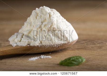 White Flour In Spoon