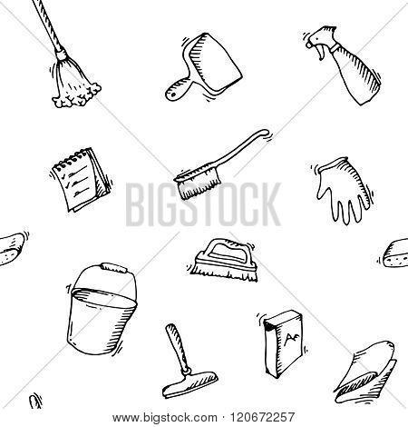 Seamless doodle pattern of house cleaning icons