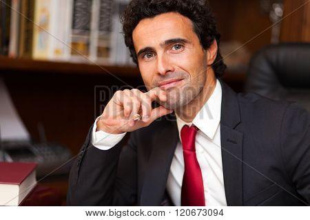 Confident lawyer in his studio