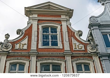 Architectural Facade Detail At One Old Building Placed In Bruges, Belgium 7