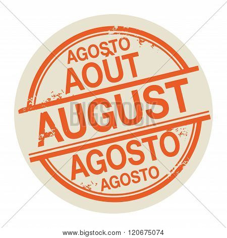 Stamp With The Word August In Different Languages