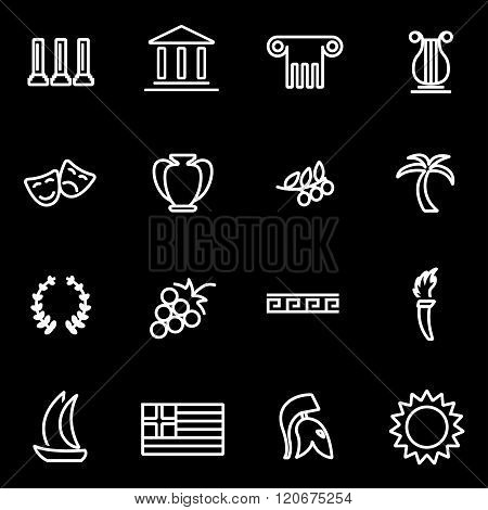 Vector Line Greece Icon Set