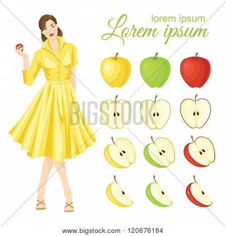 Belle girl in fifties retro dress holding apple in her hand