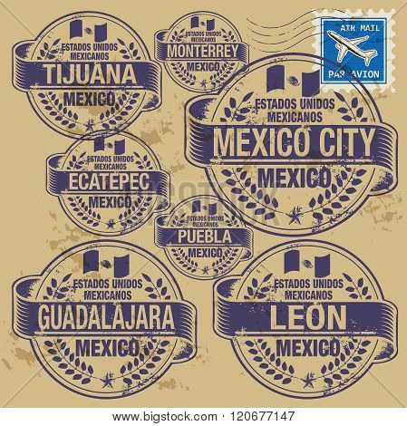 Grunge Rubber Stamp Set With Names Of Mexico Cities