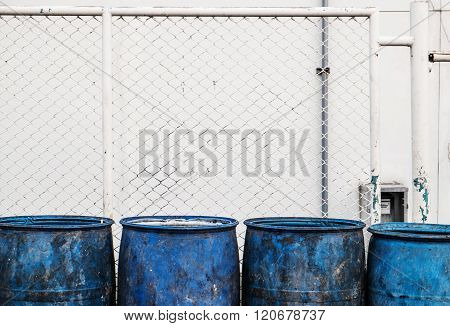 Close up, Dirty blue plastic garbage containers
