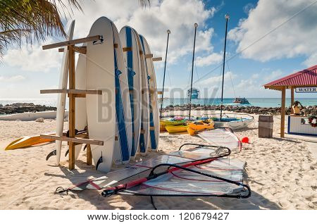 Surf Boards Parking Rack Near Water Sport Check-in