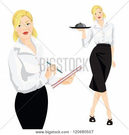 Vector illustration of waitress take order.