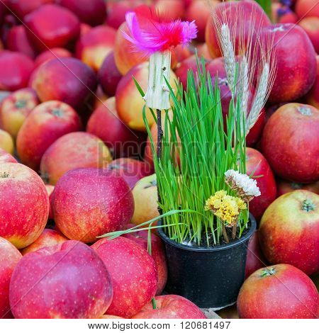 Springtime Decoration And Red Apples