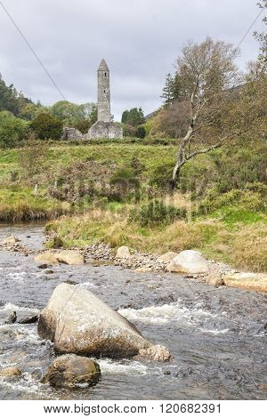 View Of Ruins Of The High Tower Of Glendalough, Ireland