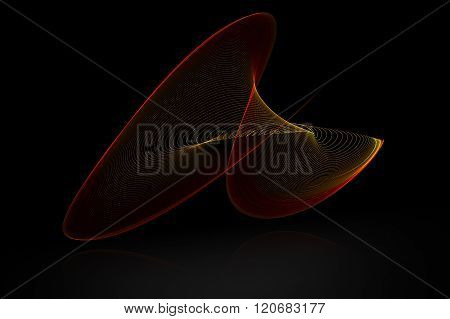 Red Abstract Sound Wave With Reflex On Black Background For Logo Or Symbolic Design.