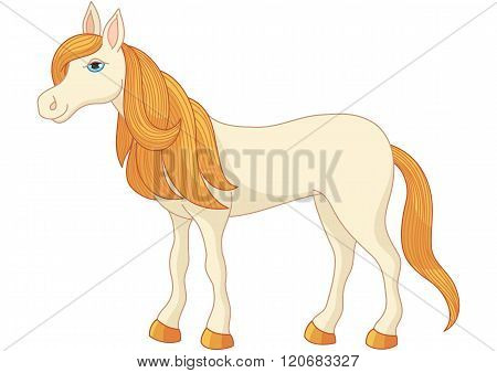 Charming cartoon horse with long golden mane and tail