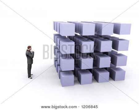 Businessman And Cubes