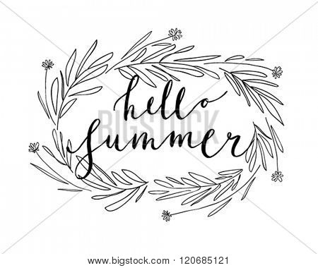 Summer Lettering with wreath - hand drawn Vector illustration.