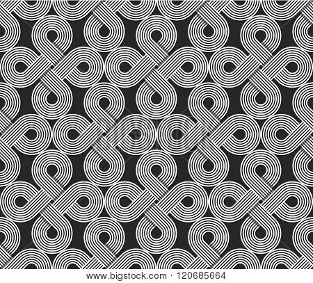 Loops Seamless Pattern, Repeating Symmetry Ornament, Wrapping Line Circles Background, Graphic Desig