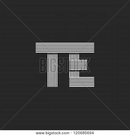 Initials Te Letters Logo Monogram Wedding Invitation Design Element, Combination Couple Symbols, Off