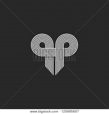 Modern Logo Initials Qp Letter Together, Thin Parallel Line Monogram Wedding Invitation Emblem, Geom
